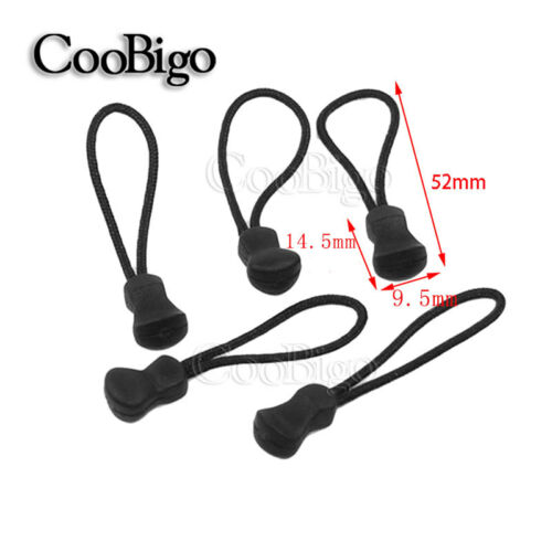 Black Zipper Pull Cord Ends Strap Lariat For Bag Backpack Apparel Accessories