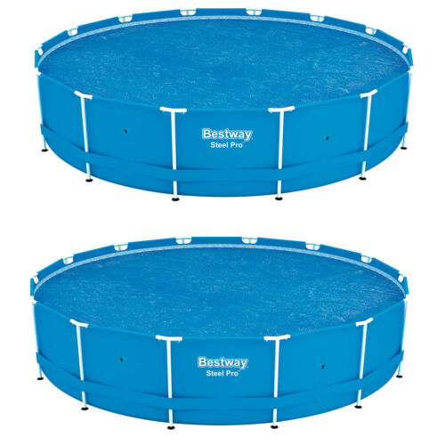 Bestway 14/' Round Floating Above Ground Swimming Pool Solar Heat Cover 2 Pack