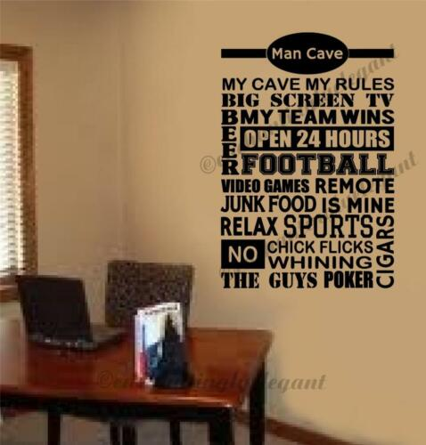 Man Cave Football Video Games Vinyl Decal Wall Sticker Words Letters Den Office