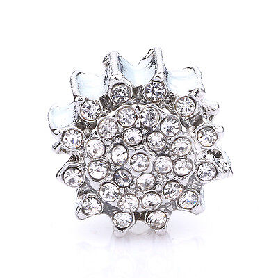 925 Silver Floral Clear CZ Ice crystals Spacer Charm Bead For Bracelet DIY