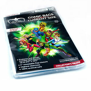 Ultimate-Guard-100-Resealable-Current-Modern-Age-Size-Comic-Book-Storage-Bags