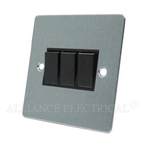 MATT satin chrome brossé plat 3 Gang interrupteur 10 amp triple 3G 2 voie