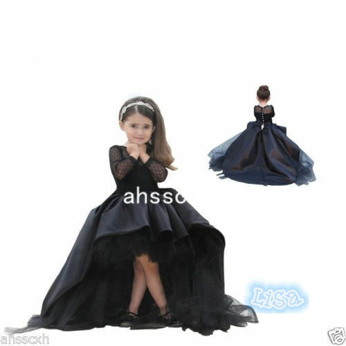 2019 Ball Gown Flower Girl Dresses Little Girls Party Dress Black Pageant Gowns