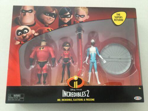 Disney Incredibles 2 Mr Incredible Elastigirl Frozone 3 Pack Action Figures New