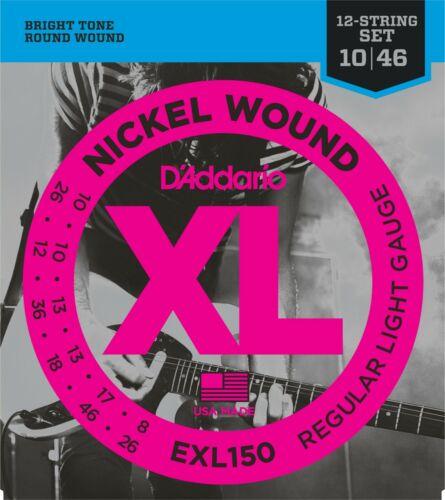 D/'Addario EXL150 Nickel Wound 12-String Chitarra Elettrica 10-46 regolare luce