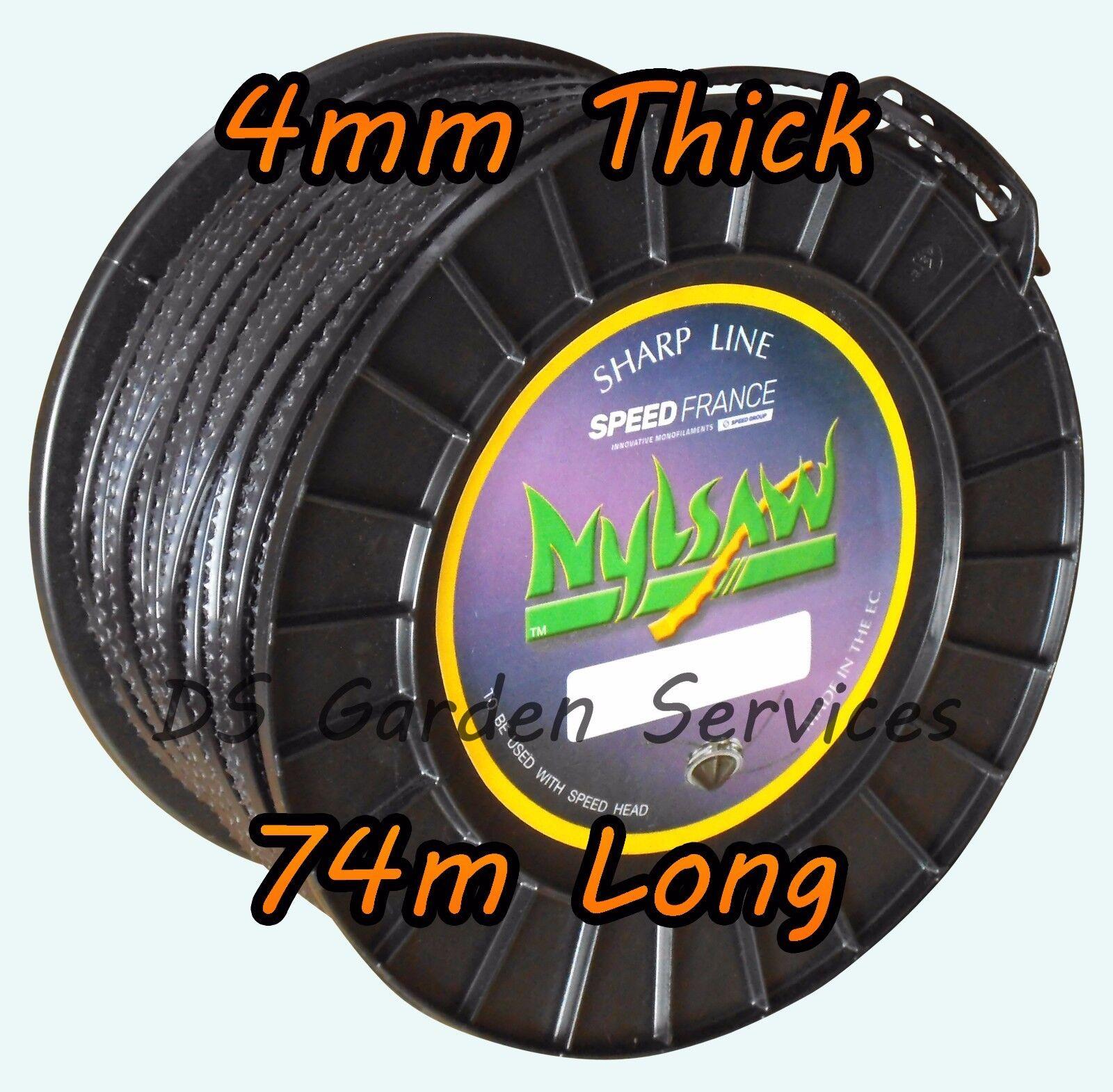 NYLSAW 4 mm x 74 M rossoolo SPIKY linea dentellata Sharp Decespugliatore Trimmer Wire Cord