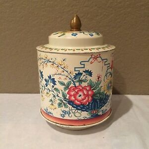 Vintage-Murray-Allen-Regal-Crown-Confections-Tin-Floral-Theme-With-Lid-Colle