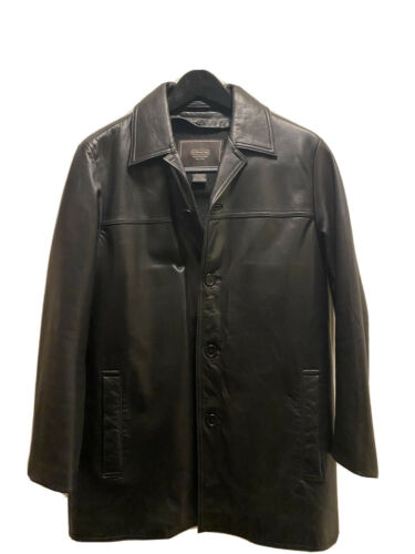 Stunning Coach Men's Black Leather Jacket With Lin