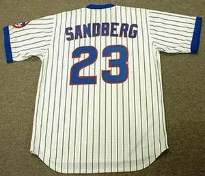 official photos 1cf60 dc1fd Details about RYNE SANDBERG Chicago Cubs Majestic Cooperstown Throwback  Home Baseball Jersey