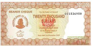 P23, ZIMBABWE p  23 2003 UNC 20000 DOLAR