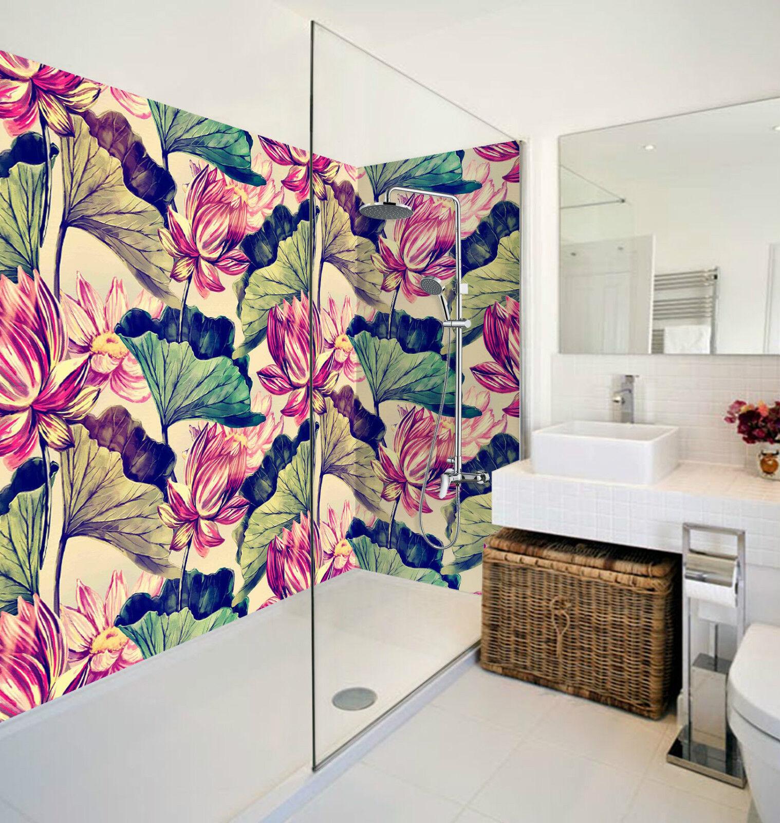 3D Lotus Painting 031 WallPaper Bathroom Print Decal Wall Deco AJ WALLPAPER CA