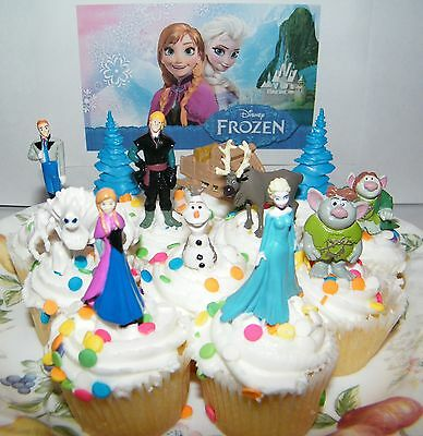 Disney Frozen Deluxe Figure Set of 12 Cake Cupcake Toppers Party Favors