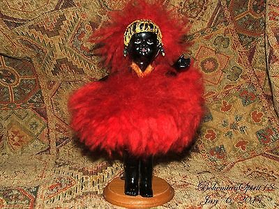 RARE ANTIQUE BLACK AFRICAN WORRIOR CELLULOID MINIATURE HEIRLOOM COLLECTIBLE DOLL