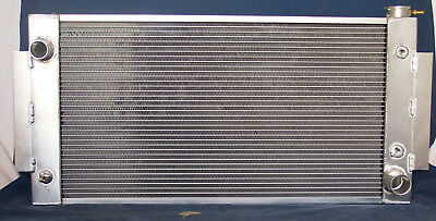1955- 1957 chevy v-8  aluminum radiator cross flow with fans and condenser