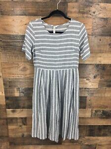 Jorney-Five-Women-039-s-Grey-amp-White-Chambray-Striped-Pleated-Midi-Shift-Dress-SZ-M