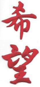 Red Asian Chinese Calligraphy 希望 Hope Characters Embroidery Patch