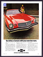 """1974 red Chevrolet Camaro Sport Coupe photo """"Test Drive with Your Eyes"""" print ad"""