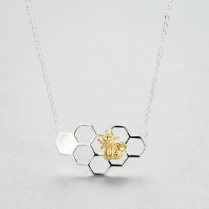 Cute-Gold-Color-Jewelry-Silver-Pendant-Necklace-Honeybee-Honeycomb-With-Bee