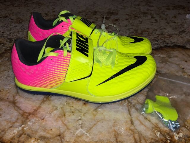 reputable site 638d5 cf192 NIKE Zoom HJ Elite High Jump Volt Yellow Pink Jumping Field Shoes Mens Sz 9  10.5