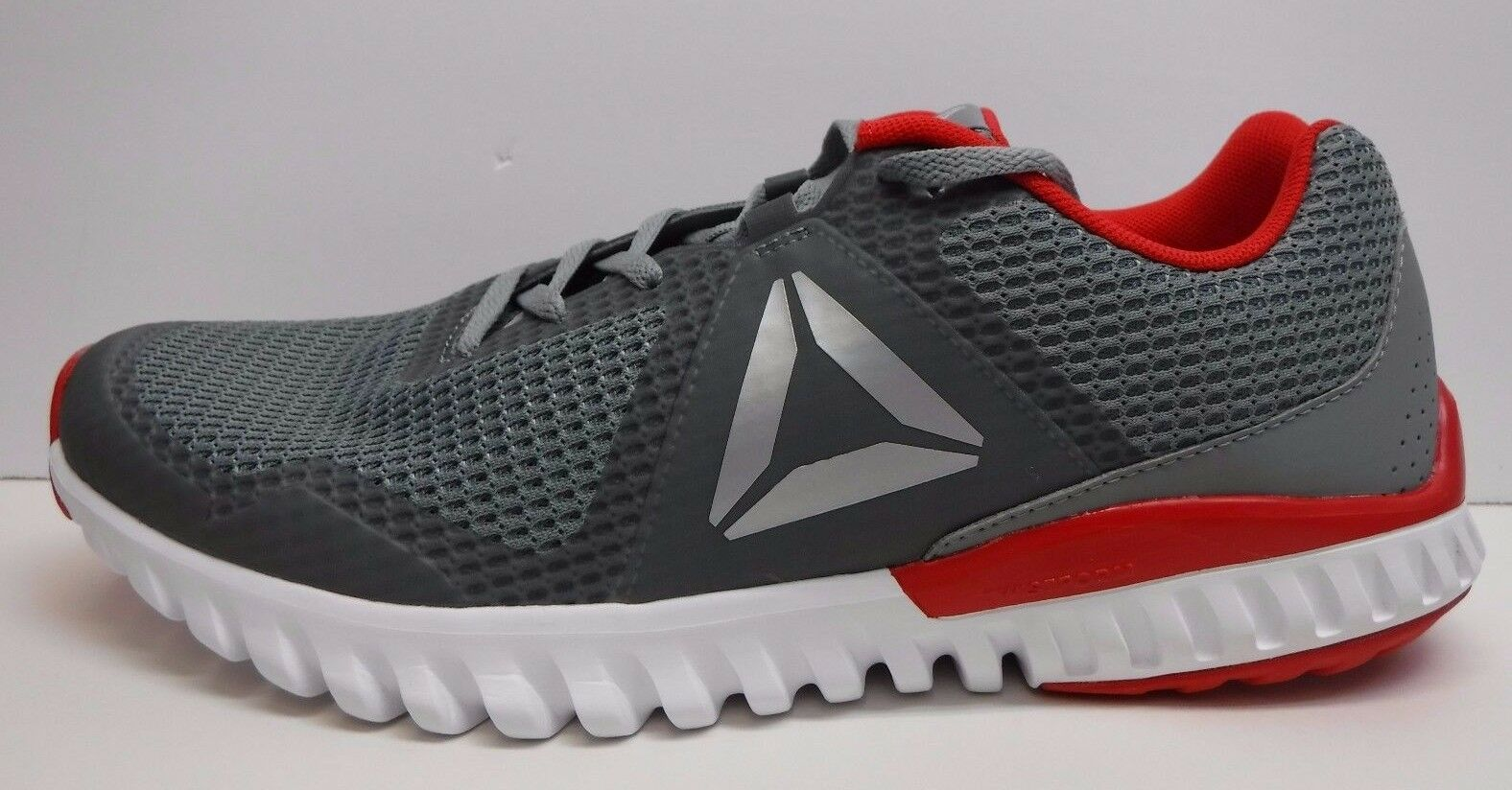 Reebok Size 11 Silver Gray Red running Sneakers New Mens Shoes
