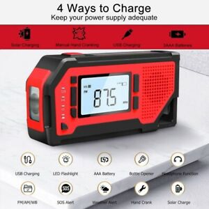 Emergency Solar Hand Crank Weather AM/FM/WB/NOAA Radio Charger LCD Display US