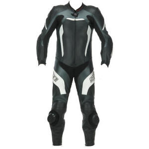 Spada-Predator-Leather-MOTORCYCLE-Race-Suit-1-PIECE-Black-White-silver