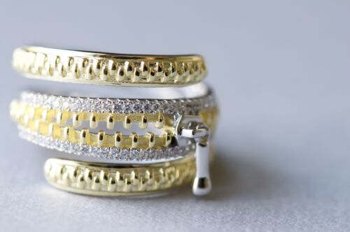 Yellow Gold Plated Sterling Silver Statement Ring With Zipper Design