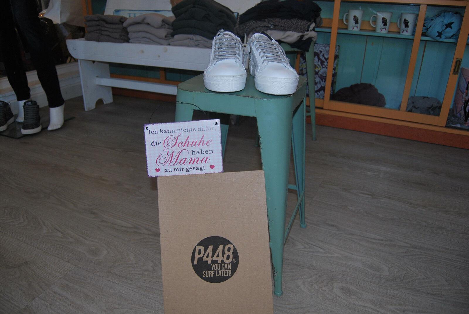 P448 Sneaker Karton mit Plateausohle - Weiß  Neu mit Karton Sneaker   189,- 4d7236