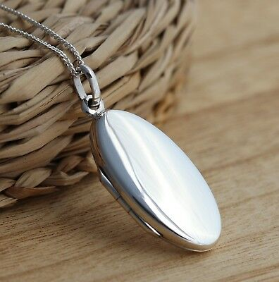 100% Wahr Solid 925 Sterling Silver Oval Photo Picture Locket Plain Pendant Jewellery