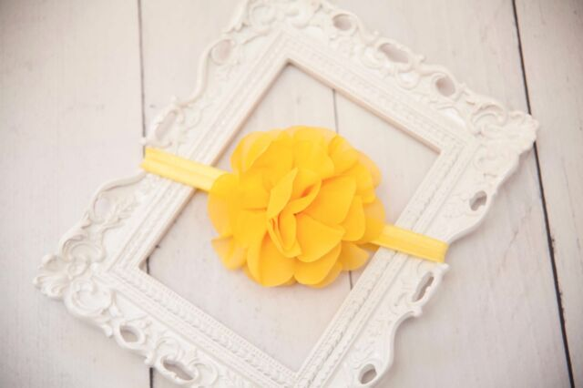 Yellow Petal Pom Elastic Headband for Baby or Toddler - Photo Prop
