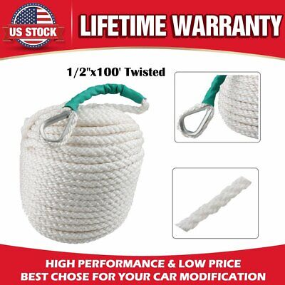 "1//2/""x100/' Twisted Three Strand Nylon Anchor Rope Boat with Thimble"