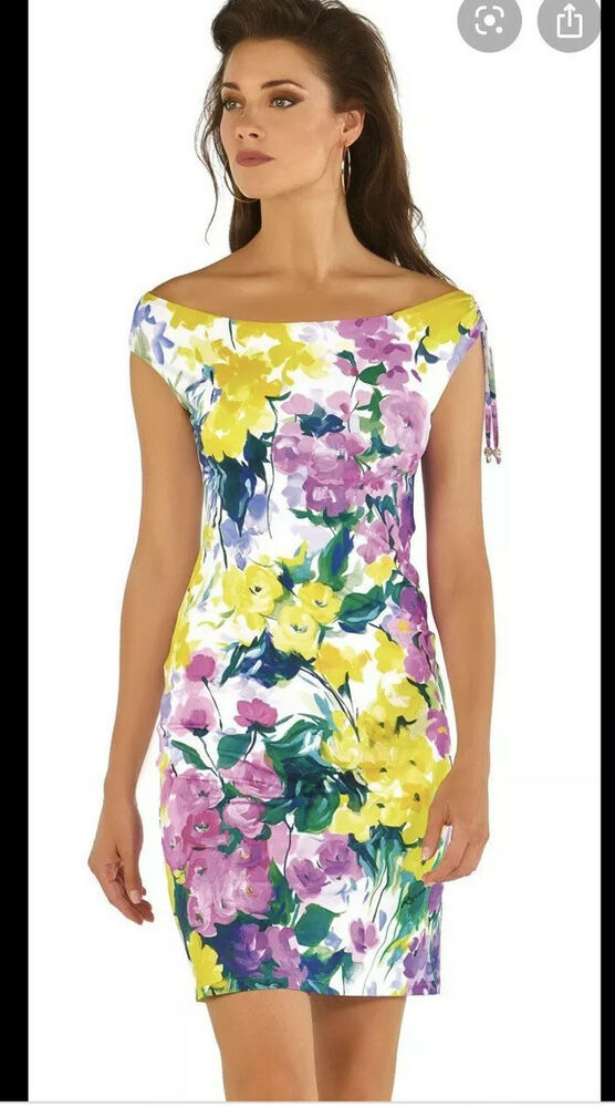 Bnwt!!! Roidal Flor Lila Liao Robe-taille 10 Rrp £ 165