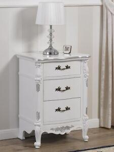 Comodino Gerald stile Barocco Moderno bianco laccato e foglia ...