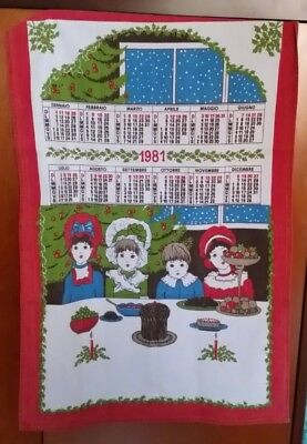 """Canovaccio Con Calendario """"pranzo Di Natale 1981"""" - Cm. 71x47"""