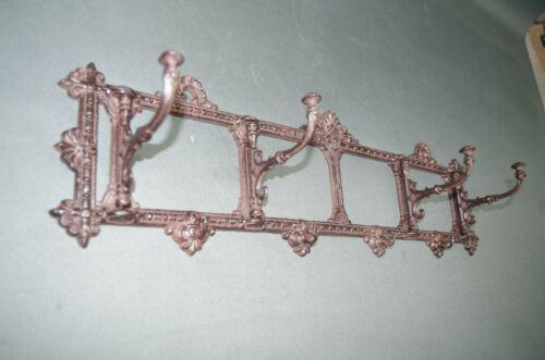 Rustikale Metall Garderobe  mit Klapphaken  62 cm Antikstil braun Gusseisen
