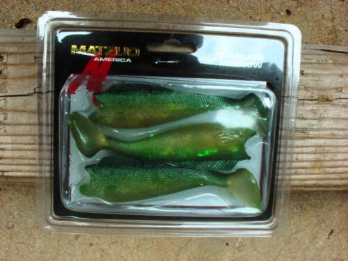 """FOUR Packs OF Matzuo Sterling Minnow 5/"""" Green//Gold"""