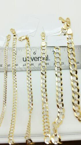 Bracelet Chain 14k Solid Yellow Gold Pave Diamond Cut Cuban Curb Link Necklace