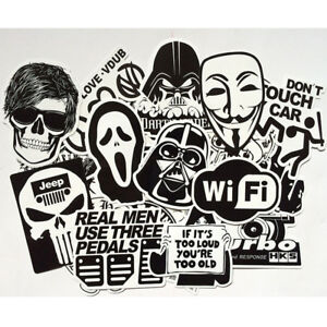 Mix-Lot-100-pc-Black-White-Stickers-Skateboard-Graffiti-Laptop-Luggage-Car-Decal