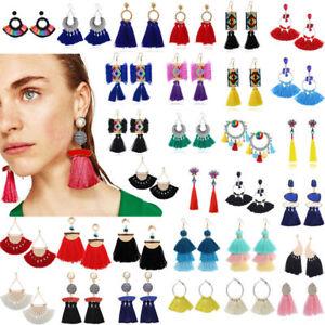 Fashion-Bohemian-Jewelry-Crystal-Tassel-Stud-Earring-Long-Drop-Dangle-Earrings