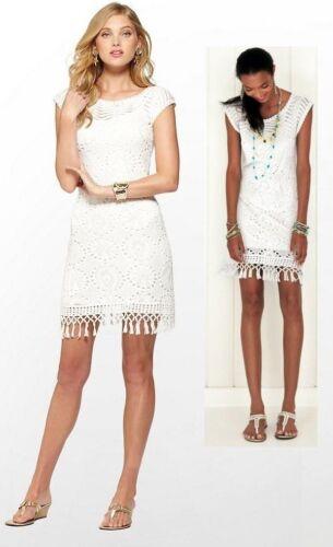 $188 Lilly Pulitzer Adabelle Resort White Sweater Knit Tassel Trim Dress