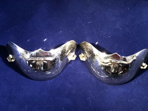 New Western Cowboy Boot Tip Rand Rounded Toe Silver With Gold Longhorn