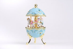 Turquoise Egg Horse Carousel Trinket Box by Keren Kopal music box & crystal