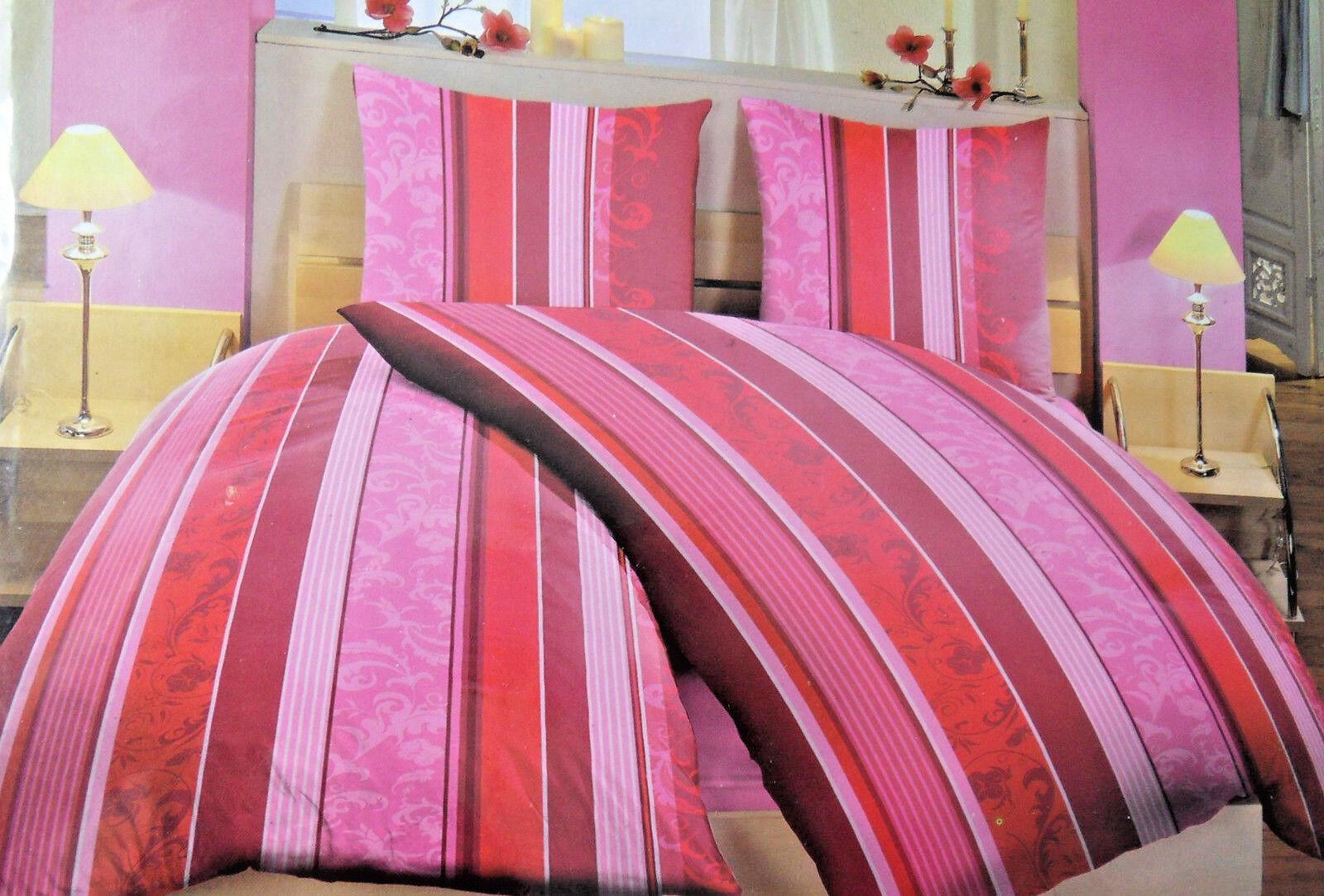 6 Teilige Bettwäsche Mit Rv 135 X 200 Cm Peer Streifen Rot Leichte