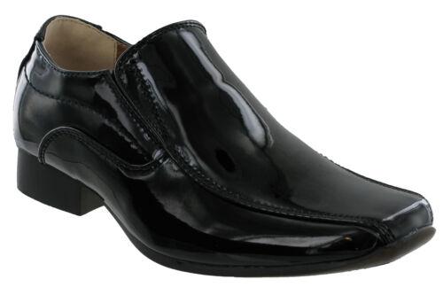 U.S Brass Smokey Boys Black Patent Shiny Slip On Smart Wedding Formal Shoes Mens