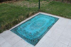 Vintage-Handmade-Turkish-Overdyed-Turquoise-Oushak-Nursery-Area-Rug-6-039-9-034-x3-039-11-034
