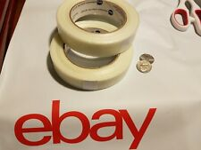 2 Rolls 1 X 60 Yds Fiberglass Reinforced Filament Strapping Packing Tape Clear