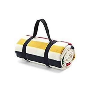 Hudson-039-s-Bay-HBC-Classic-Stripe-Polar-Fleece-Red-Yellow-Green-Throw-Blanket-NWT