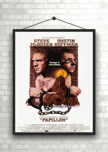 Papillon McQueen Vintage Classic Movie Poster Art Print A0 A1 A2 A3 A4 Maxi