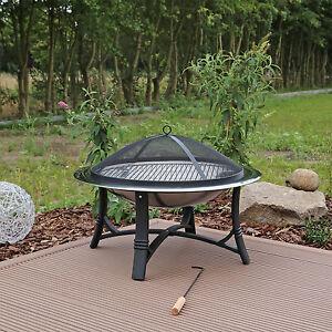 clgarden feuerschale fs2 aus edelstahl mit grill garten feuerkorb feuer schale ebay. Black Bedroom Furniture Sets. Home Design Ideas