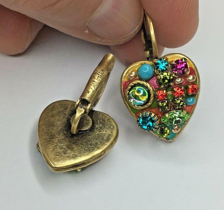 Michal Golan 24k gold Crystal Rainbow Drop Heart Earrings Handmade